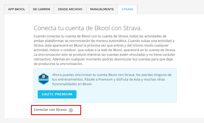 Conecta tu cuenta Bkool con Strava