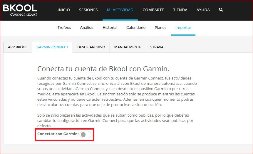 Conexión con Garmin Connect