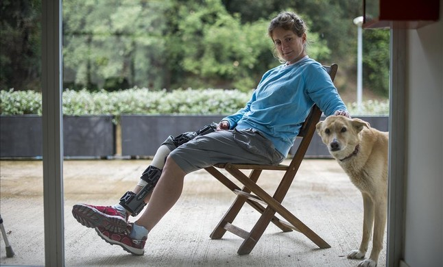 Anna Corbella durante el proceso de recuperación de su lesión de rodilla