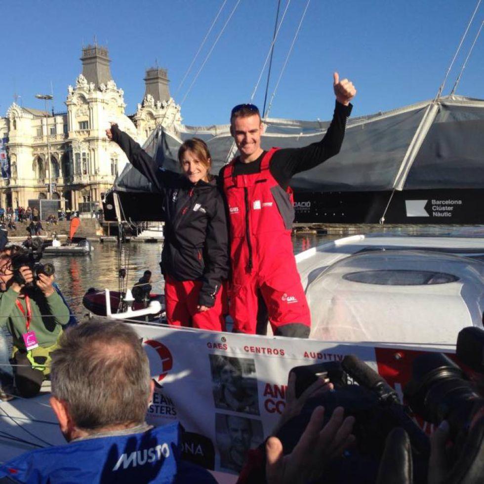 Anna Corbella en la llegada de la Barcelona World Race