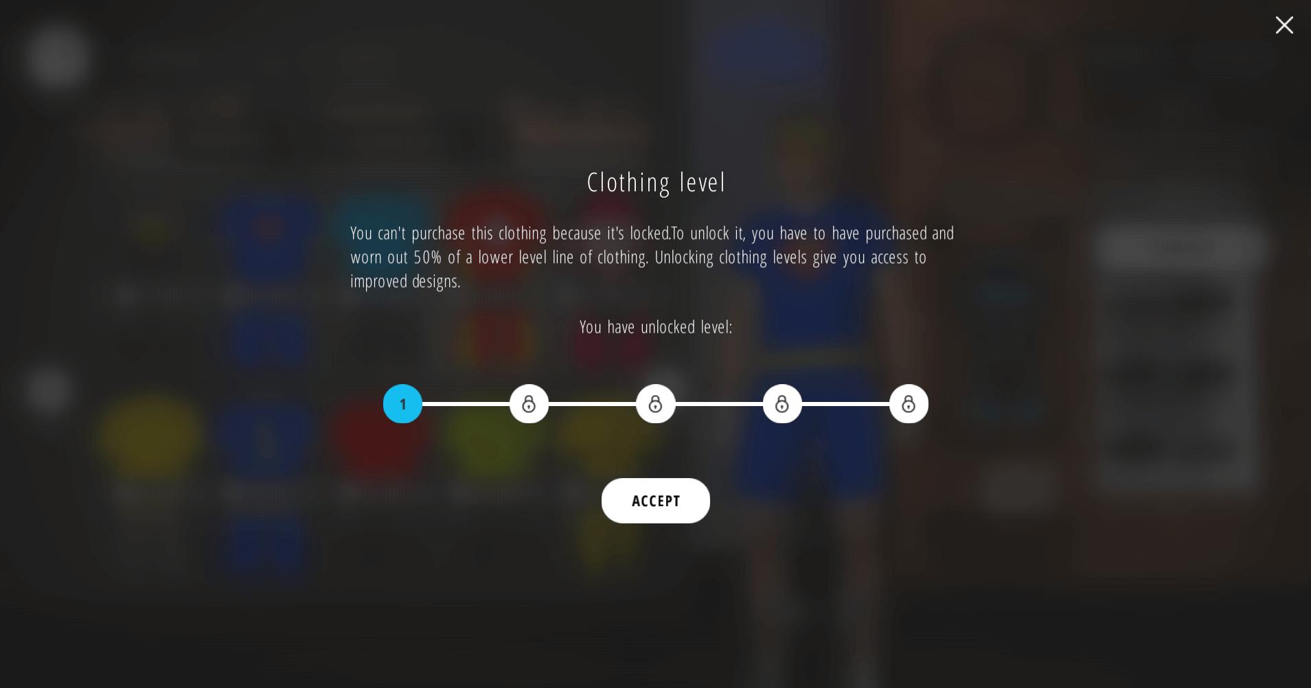 Clothing level Bkool Simulator