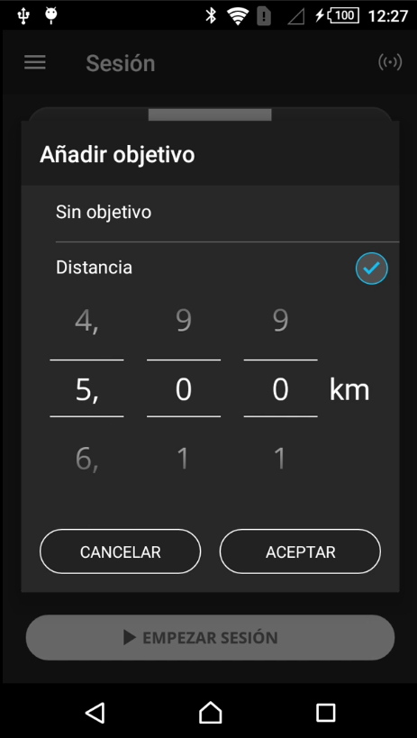 Fijar distancia en sesión por pendiente Android