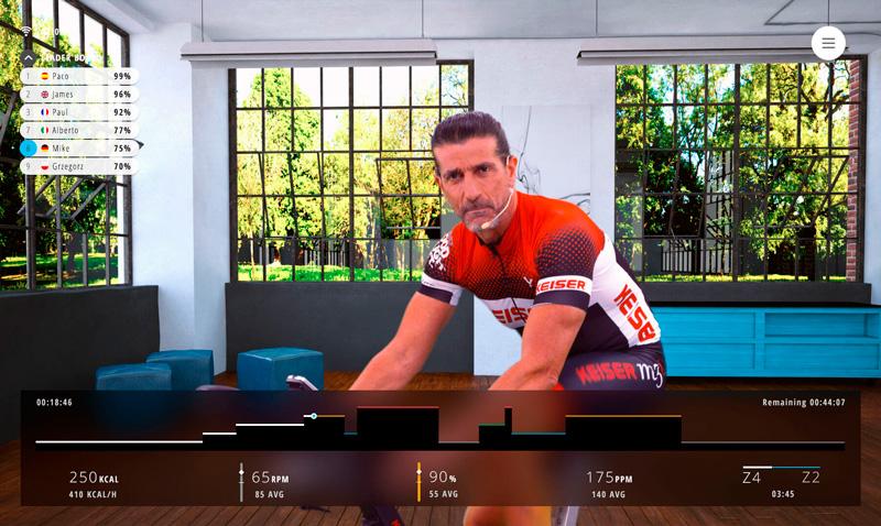 Clase ciclismo indoor en el simulador Bkool