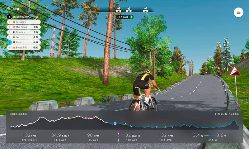 Ruta ciclista en 3D en el simulador Bkool