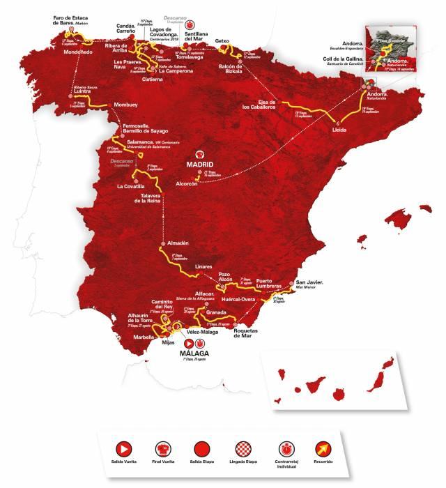 Mapa recorrido La Vuelta 2018